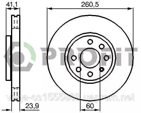 Гальмівний диск Profit 50101131 на Opel Combo / Опель Комбо