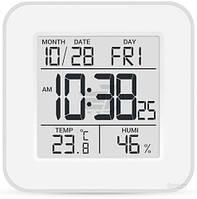 Термогигрометр Стеклоприбор Т-19 с часами серый