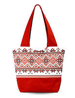 Женская красная сумка Орнамент