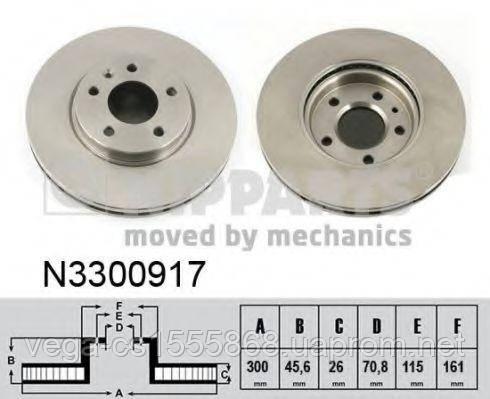 Тормозной диск Nipparts N3300917 на Opel Zafira / Опель Зафира