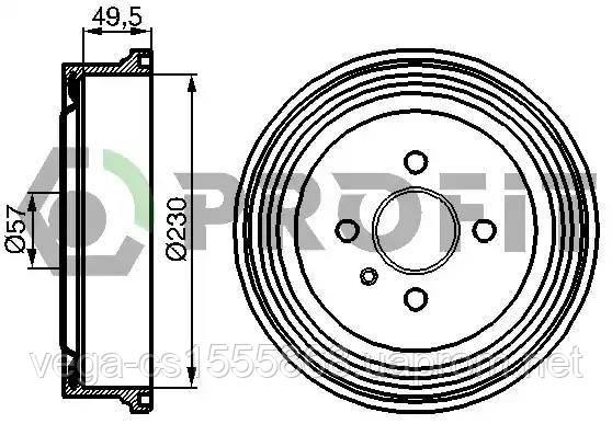 Тормозной барабан Profit 50200062 на Opel Astra / Опель Астра