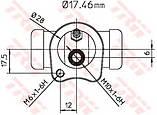 Колесный тормозной цилиндр TRW BWC115 на Opel Astra / Опель Астра, фото 2