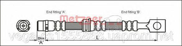 Тормозной шланг Metzger 4112825 на Opel Astra / Опель Астра