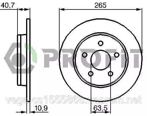 Гальмівний диск Profit 50101226 на Ford C-MAX / Форд C-MAX