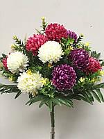 Красивая хризантема с листами папоротника, 5 расцветок, 12 голов, 50 см., 240/210 (цена за 1 шт. + 30 гр.)
