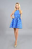 Голубое стильное женское платье с верхом из креп-шифона и атласной юбкой.  Арт-7807/93, фото 1