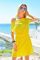 Ярко-желтая летняя женская платье-туника из прошви. Арт - 7808/93, фото 1