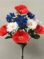 Яркие полевые цветочки, 10 голов, 45 см., 40/30 (цена за 1 шт. + 10 гр.)