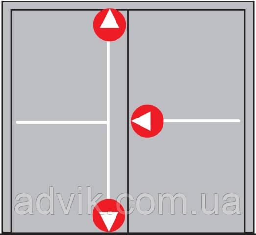 Антипаника Dorma PHA 2000 для 2-створчатой штульповой двери с 3-точечным запиранием без внешней ручки