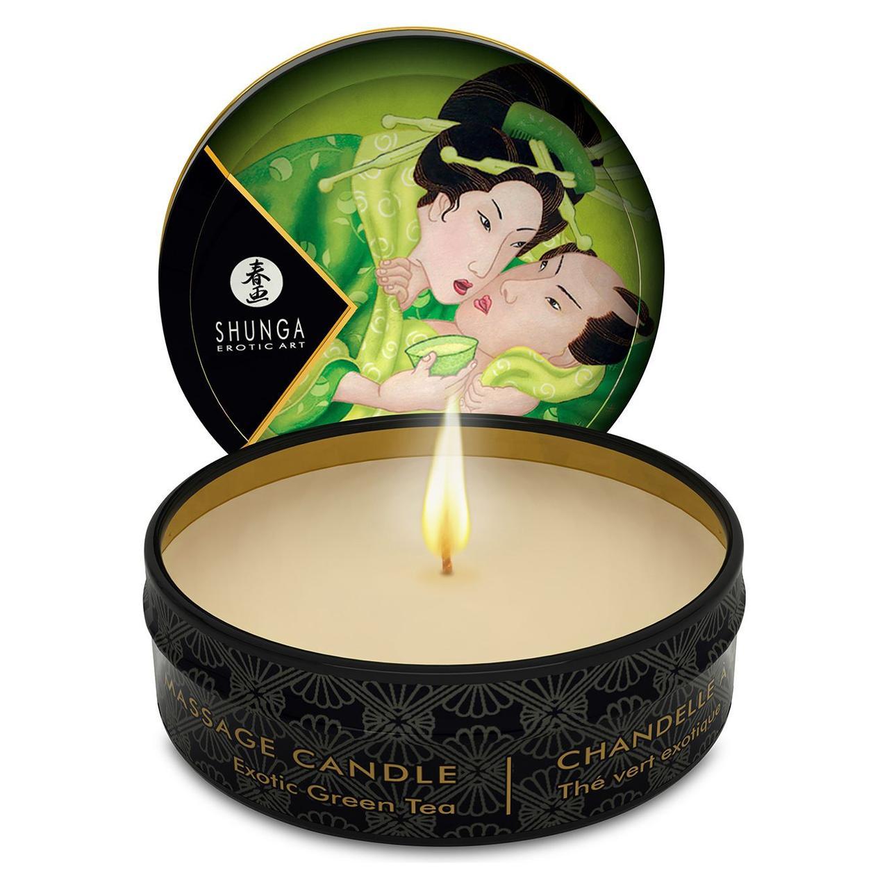 Массажная свеча Shunga MINI MASSAGE CANDLE - Exotic Green Tea (30 мл)