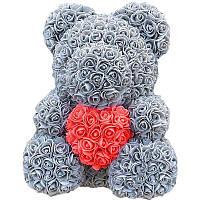 Мишка из искусственных 3D роз в подарочной упаковке 40 см серый - 140101