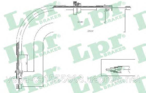 Трос ручного тормоза LPR C0281B на Ford Transit / Форд Транзит