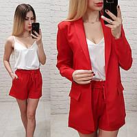 Женский костюм классический тройкаткань габардин софт новинка цвет красный, фото 1