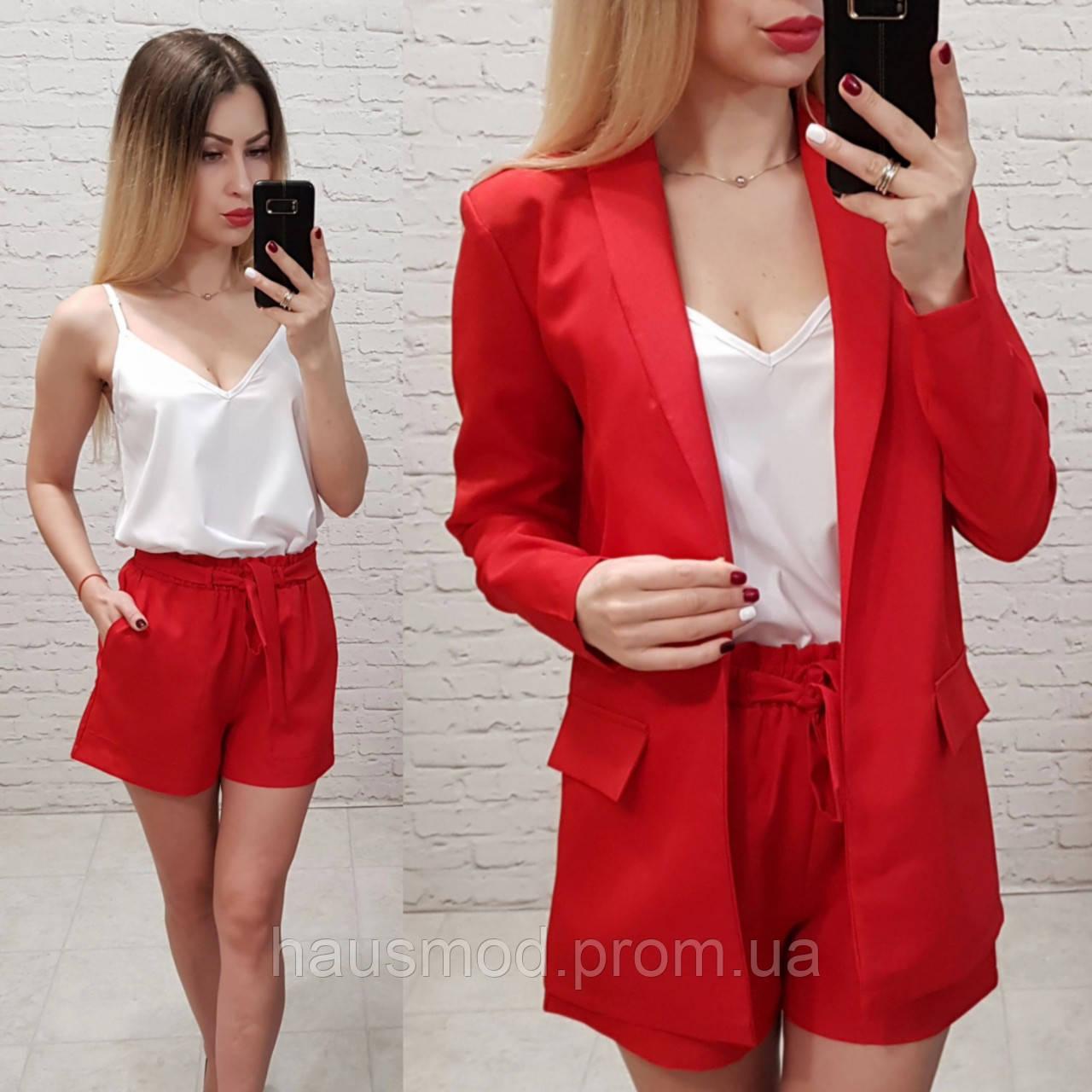 Женский костюм классический тройкаткань габардин софт новинка цвет красный