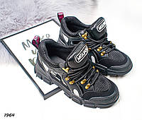 Кроссовки MGUAN черные вставки текстиль, фото 1