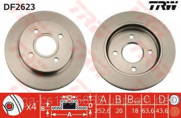 Тормозной диск TRW DF2623 на Ford Mondeo / Форд Мондео