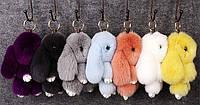 Брелок кролик – модные разноцветные аксессуары в виде зайца и кролика из натурального меха (ОПТОМ)