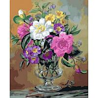 Картина по номерам Незабудки и примулы в стеклянной вазе 40Х50см Mariposa Q2162