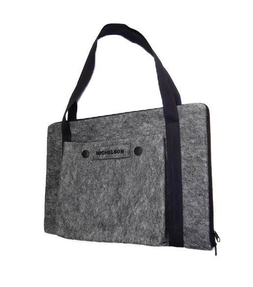"""Стильная сумка Michelson для ноутбука и документов 17.3"""" grey"""