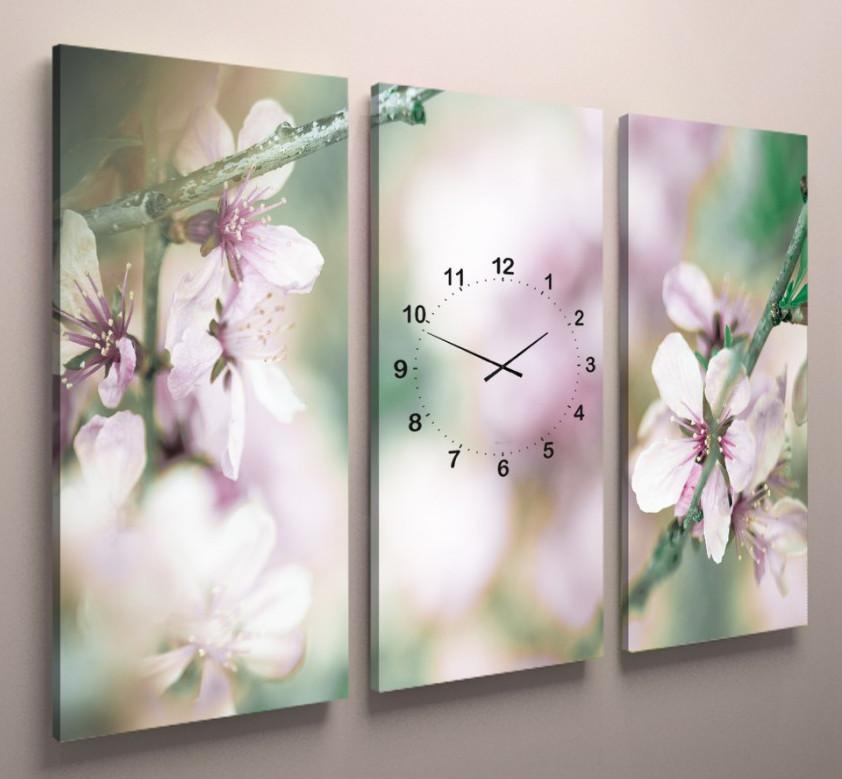 Фото картина модульная з годинником квіти яблуні 90х60