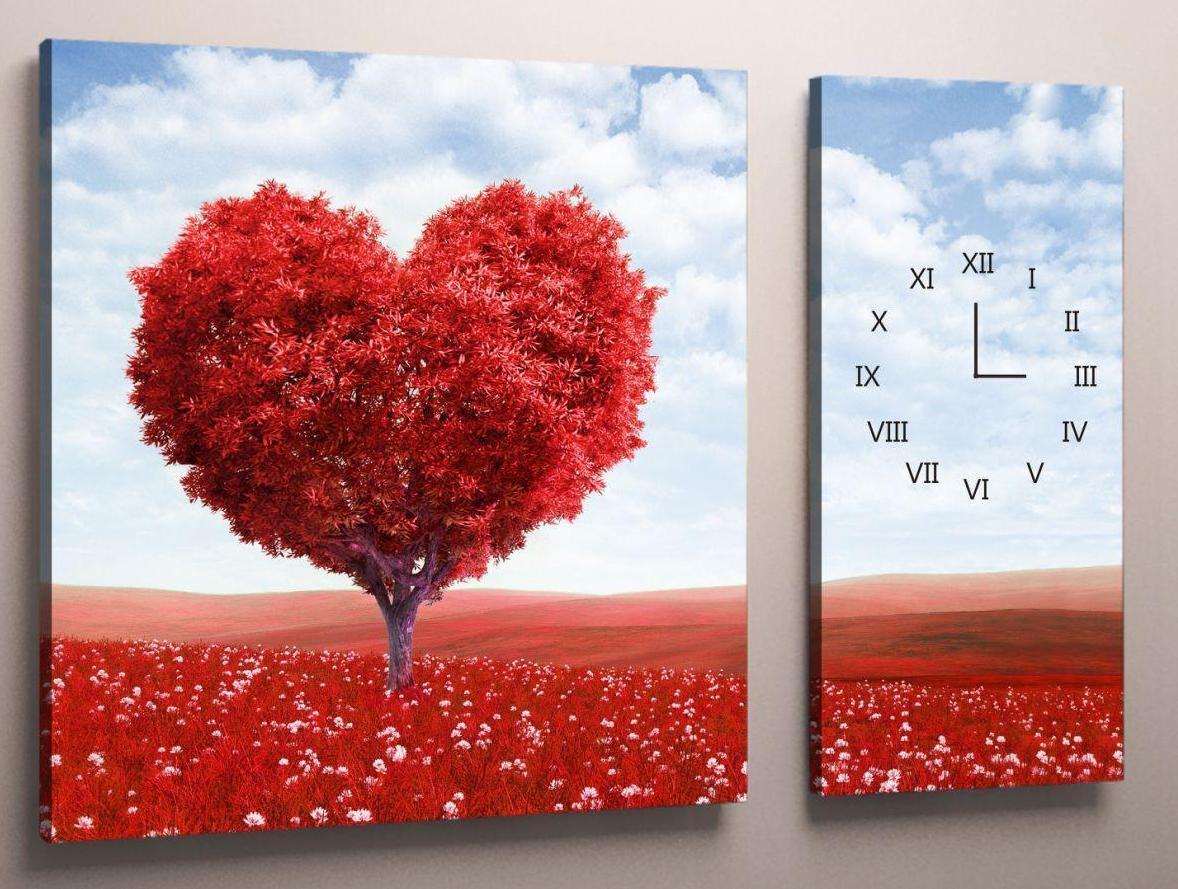 Фотокартина модульная с часами сердце 100х60