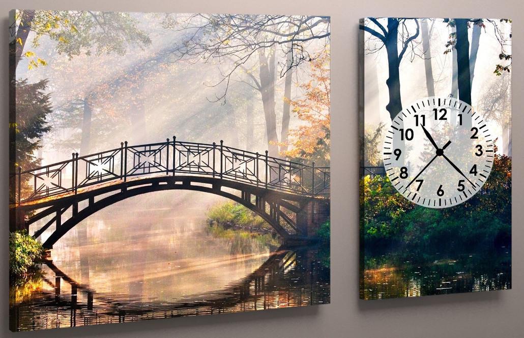 Модульная картина с часовым механизмом Мост в парке 100х60