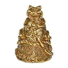 Колокольчик из бронзы сувенир Кот с сосиской