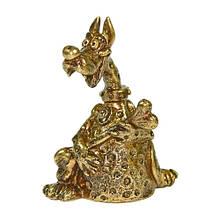 """Колокольчик из бронзы подарок сувенир """"Дог с костью"""""""