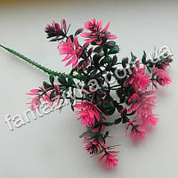 Веточка эдельвейса пластиковая 24см, ярко-розовая
