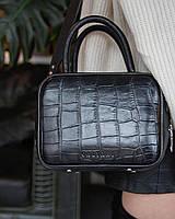 Женская кожаная прямоугольная сумка черная под крокодила