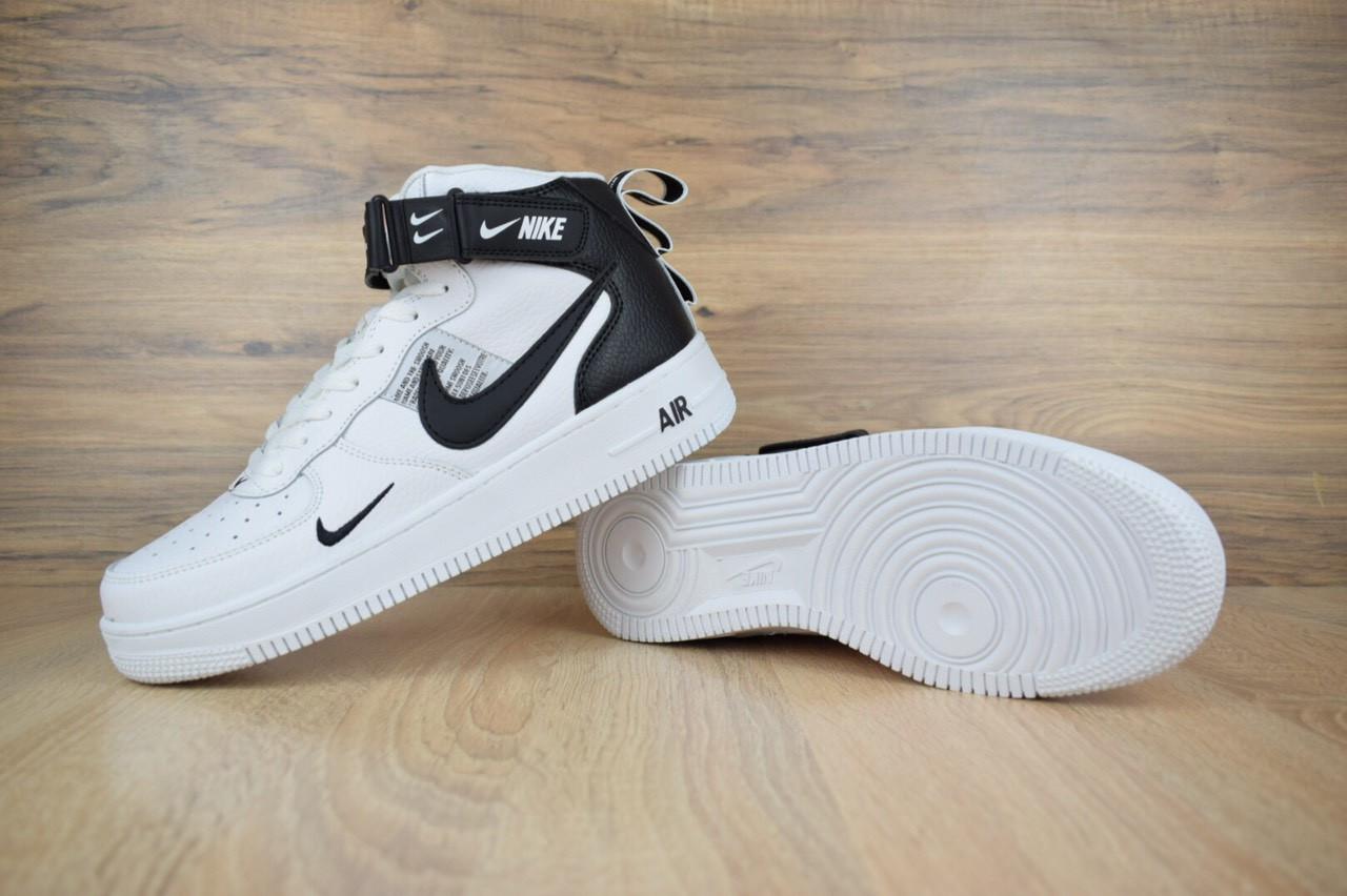 3d481e22 Мужские кроссовки Nike Air Force 1 Mid LV8 (1677)Белые с черным высокие