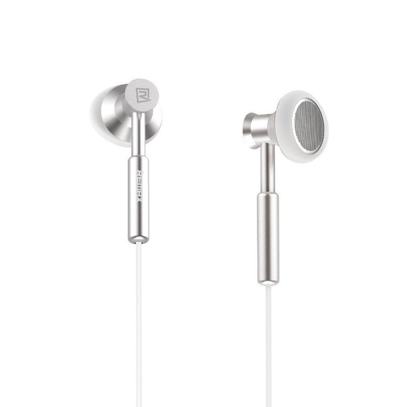 Наушники Remax RM-305M Silver (metal с микрофоном, кнопкой ответа и регулировкой громкости)
