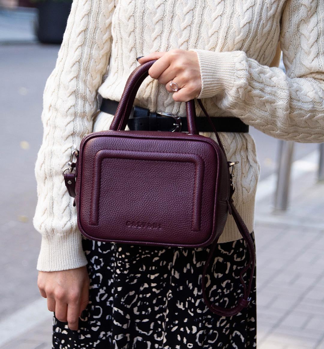 Женская кожаная прямоугольная сумка фиолетовая