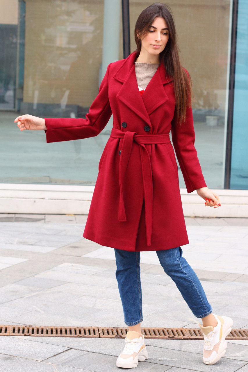 Женское кашемировое пальто двубортное