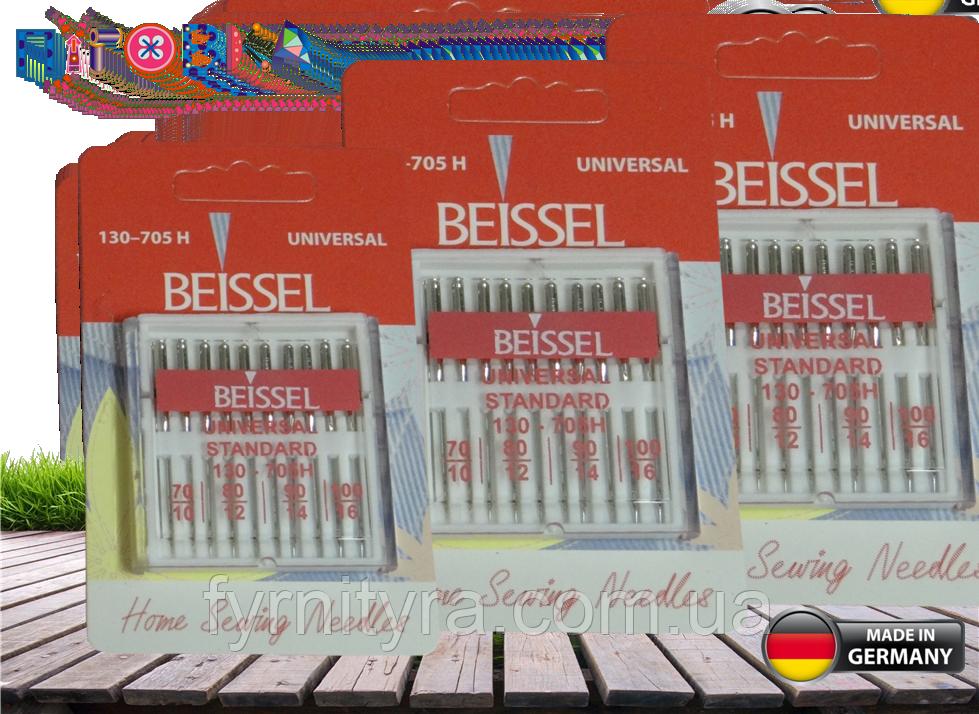 """Набор игл """"Beissel""""Universal Standart 70-80-90-100 пр-во Германия(уп10игл) для бытовых швейных машин"""