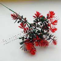 Веточка эдельвейса пластиковая 24см, красная