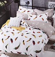 Комплект постельного белья евро сатин Воздушные перья