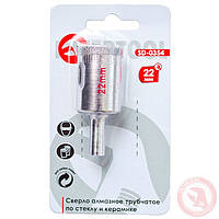 Сверло алмазное трубчатое по стеклу и керамике 22 мм INTERTOOL SD-0354