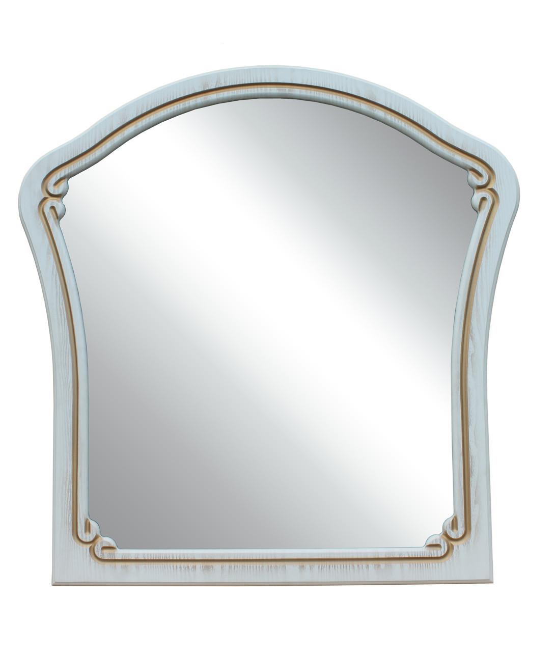 "Зеркало С03 ""Альба"" 88х88 см. Белый супермат, Орех светлый"