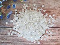 Полубусины перламутровые, 8 мм, цвет белый, 10 грамм (76-80 шт)