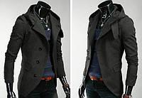 Пальто мужское из кашемира с капюшоном серое