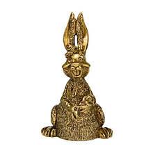 "Сувенир колокольчик из бронзы ""Кролик с морковкой""."