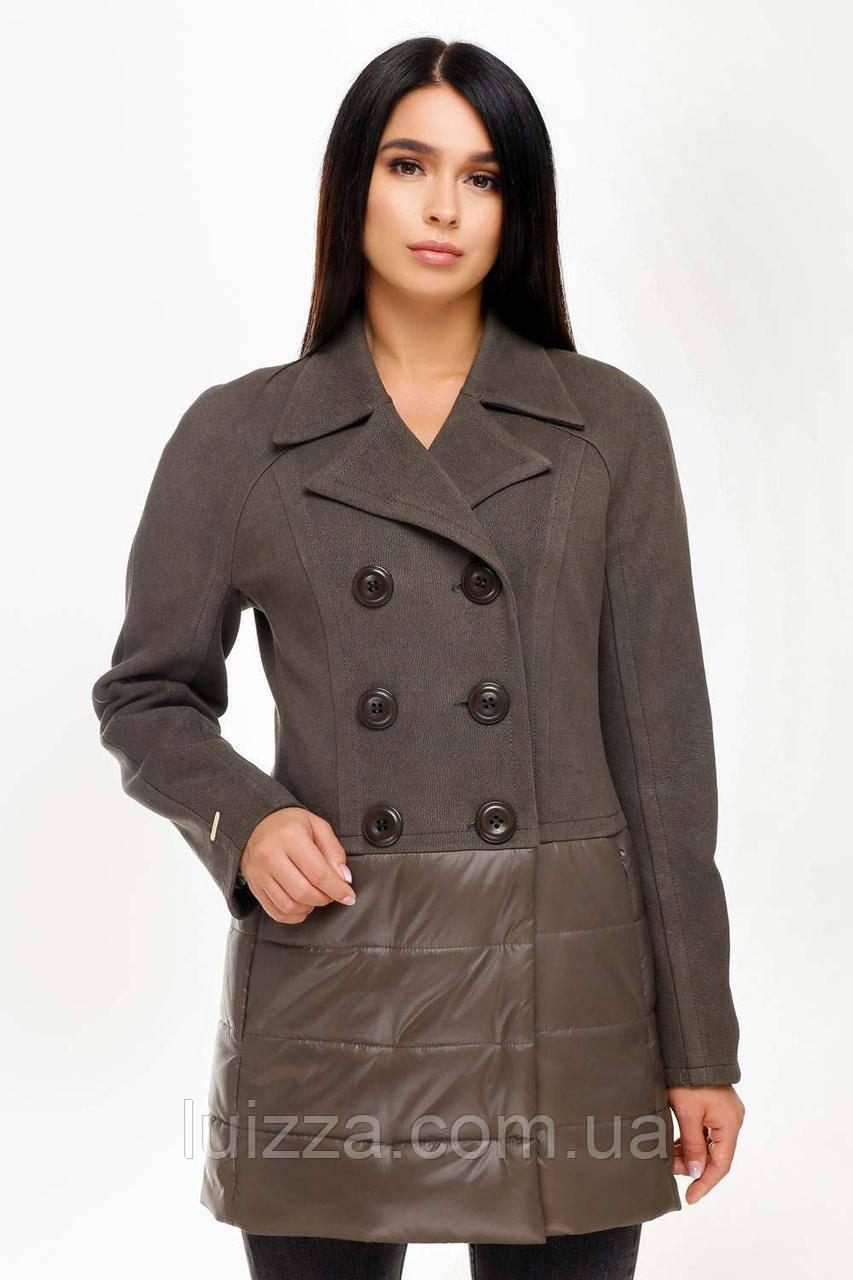 Куртка деми из комбинированных тканей 44-54рр ХАКИ