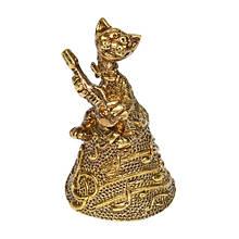 """Колокольчик из бронзы сувенирный """"Кот с гитарой"""""""