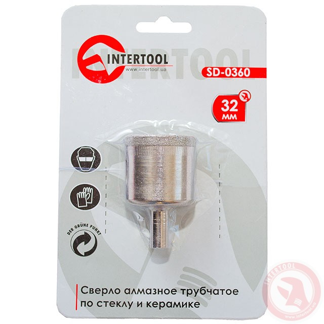 Алмазне свердло трубчасте по склу та кераміці 32 мм INTERTOOL SD-0360