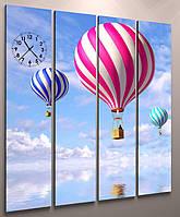Картина часы холст небо с воздушными шарами 160х148