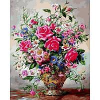 """Картина по номерам, картина-раскраска""""Розы и лилии""""  40Х50см VP1050"""