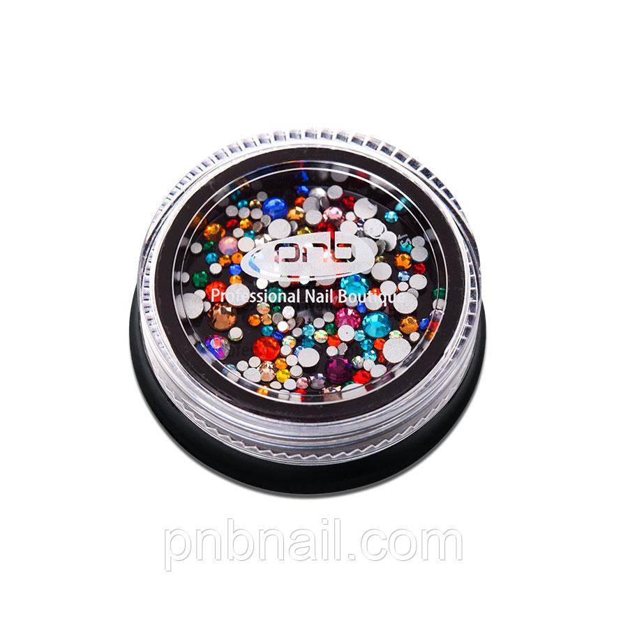 Стразы PNB разноцветные, микс размеров, стекло, 200 шт