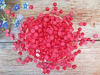Полубусины перламутровые, 8 мм, цвет красный, 10 грамм (74-78 шт).
