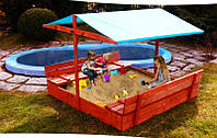 Деревянная песочница с крышей и лавочками для детей 120 х 120 см